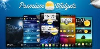 Premium Widgets & Weather - очень красочный виджет погоды и часов для андроид