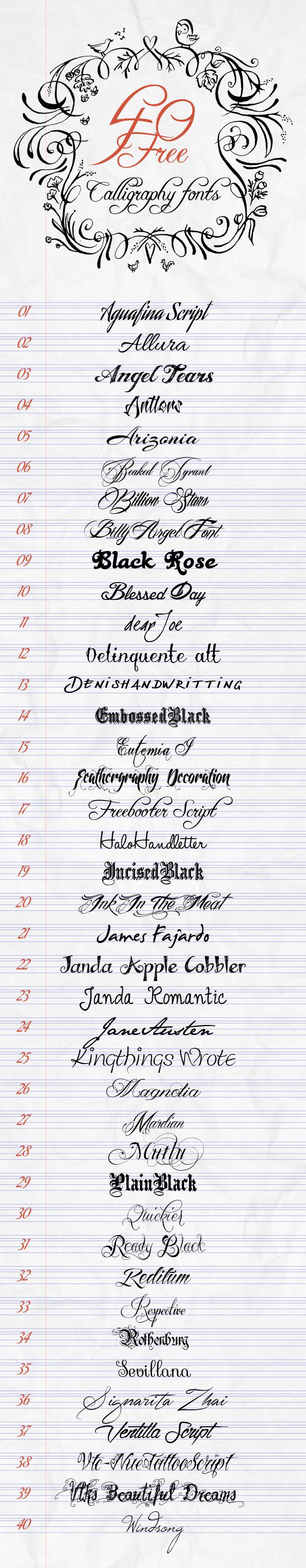 Искусство каллиграфии - 40 бесплатных шрифтов для Креатива